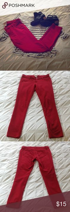 Red cotton/spandex stretch pants Red stretch pants by Mudd. Very comfortable and stretchy. Wear with stripes for a Parisian look. Mudd Pants Skinny