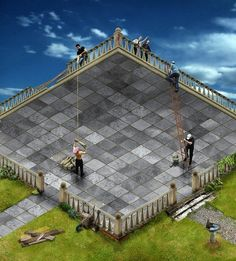 citation:two boxes a tile floor comeing into and out door grassy and clear shys