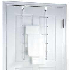 Features:  -5 Bars to hang towels.  -Over the door convenience.  Product Type: -Towel Rack.  Finish: -Chrome.  Style: -Contemporary.  Mount Type: -Over-the-Door.  Primary Material: -Metal. Dimensions: