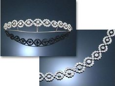 A petite diamond tiara necklace combination of eleven interwoven diamond motifs, each with a central circular diamond, 1900. Sold via Sotheby's in 2006. This looks very like the diamond tiara worn by the then Lord Mayor of London's wife, Gilly Yarrow, to the Buckingham Palace banquet held in October 2015.