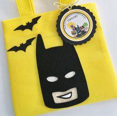 Conjunto de 12 bolsas Favor de Lego Batman con etiquetas