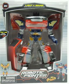 Robotic Fighter robot transforms to Red car lights & sounds New ages 5+ #midwood