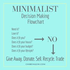 Making decisions on stuff. Decluttering. Simplicity.