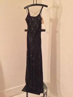 Black & Blue Demetrios Evening Collection, Size 10, Hand Beaded 100% Silk