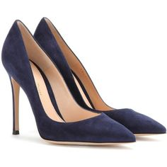 Gianvito Rossi Suede Pumps found on Polyvore featuring shoes, pumps, heels, gianvito rossi, sapatos, blue, gianvito rossi pumps, heels & pumps, suede leather shoes and blue heel shoes