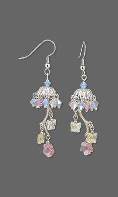 Earrings with SWAROVSKI ELEMENTS, Silver-Plated Brass Bead Caps and Silver-Plated Copper Drops