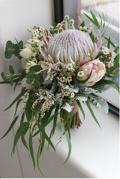 Native flower wedding bouquet made up of soft pink and white native flowers. Proteas are a stunning choice of flower for wedding bouquets, and can also be used for table decor and centerpieces. Flor Protea, Protea Bouquet, Protea Flower, Floral Bouquets, Eucalyptus Bouquet, Floral Wreath, Winter Bouquet, Winter Flowers, Winter Weddings