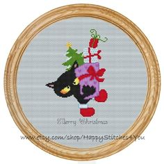 Cross Stitch Pattern PDF christmas cat DD0131 by HappyStitches4You