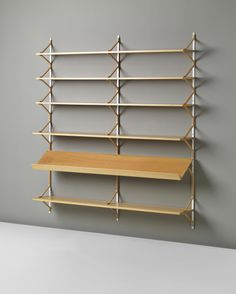 Bruno Mathsson, 'Anita' shelves 1950s Laminated-birch plywood, painted metal. Manufactured by Firma Karl Mathsson, Sweden.