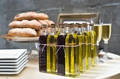 Olive oil and vinegar dipping party! This would also be a great welcome gift for a Wine Country wedding.