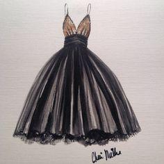 Fashion Illustration of a vintage dress, by Cheri Miller Art. Available at www.CheriMillerArt.etsy.com #fashionillustration #vintagestyle #fashionart #vintage #etsyshop