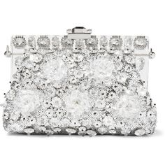 Dolce & Gabbana Vanda small embellished clutch ($3,700) ❤ liked on Polyvore featuring bags, handbags, clutches, borse, silver, dolce gabbana handbag, floral handbags, structured handbag, sparkly purses and sequin handbags