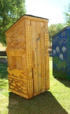 "Decorated Outhouse on display in the ""Thunderbox Road"" art exhibition featuring 12 full-sized ""Thunderboxes"" or outhouses painted and decorated in true Texas style."