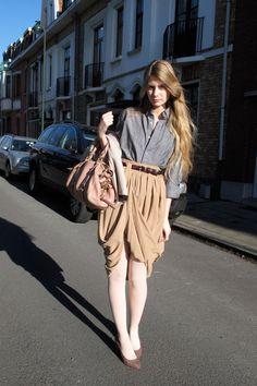 camel draped American Apparel skirt