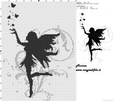 Black fairy cross stitch pattern  http://www.my-cross-stitch-patterns.com/black_fairy_cross_stitch_pattern_.html