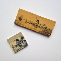 Pair of miniature small vintage Delft pottery tiles windmills by GalabeerandtheDog