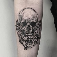 Skull with peony and small blossoms. Thankyou Sarah!