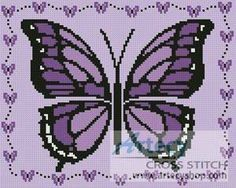 Little Purple Butterfly Sampler - cross stitch pattern designed by Tereena Clarke. Cross Stitch Boards, Cross Stitch Needles, Simple Cross Stitch, Butterfly Cross Stitch, Butterfly Pattern, Cross Stitch Flowers, Counted Cross Stitch Patterns, Cross Stitch Embroidery, Embroidery Patterns