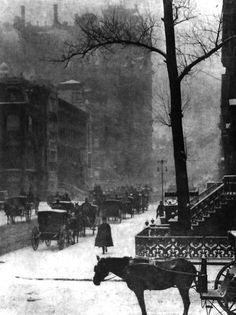 Photo Greeting Card (other products available) - STIEGLITZ: NEW YORK, <br>Horses and carriages on a snowy street in New York City. Photograph by Alfred Stieglitz, - Image supplied by Granger Art on Demand - inch Greetings Card made in the UK