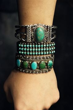 Silver armor-like bracelets, green, turquoise, found via Her New Tribe / Then Let It Be on Tumblr