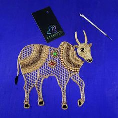 Cow design G Zardozi Embroidery, Embroidery Motifs, Indian Embroidery, Embroidery Fashion, Hand Embroidery Designs, Beaded Embroidery, Embroidery Works, Wedding Saree Blouse Designs, Blouse Designs Silk