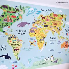 World Map Wall Sticker For Kids Map Of The World Fabric Wall Allan, World  Map