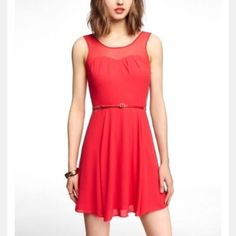 Express Size 10 Like New Red Flare Dress