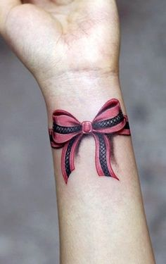 pink wrist bow tattoo   #tattoo #design #girls www.loveitsomuch.com