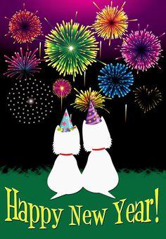 WESTIE HAPPY NEW YEAR GARDEN FLAG FREE SHIP USA RESCUE