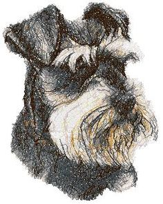 Machine Embroidery Design in Photo Stitch Technique Applique Designs, Machine Embroidery Designs, Miniature Schnauzer Black, Schnauzer Art, Advanced Embroidery, Photo Stitch, Dog Hotel, Embroidered Towels, Pet Portraits