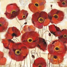Bold Poppies - 35x35  - 35x35 by