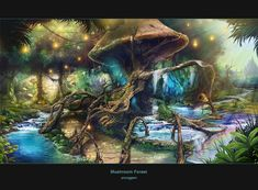 mushroom forest by ~hongryu (I keep finding new discoveries when I look at this! Like tiny houses, fishing rods, lanterns, paths and crafted-pools etc. High Fantasy, Fantasy World, Fantasy Art, Landscape Concept, Fantasy Landscape, Chakra Du Plexus Solaire, Psychedelic Experience, Mushroom Art, Mushroom House