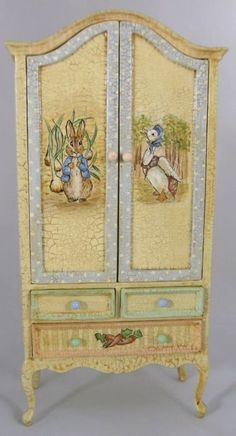 Peter Rabbit Armoire inspiration (this is a 1/12 scale miniature piece that is hand painted)