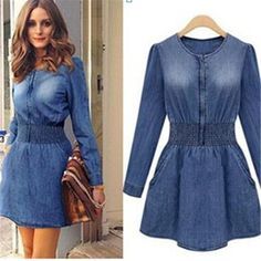 Cheap spring dresses and skirts, Buy Quality dress patchwork directly from China dress boho Suppliers: Long Sleeve Denim Dress Women's Plus Size Dress Elastic Waist Denim Mini Women Dress Summer Vestidos Femininos Dresses Robe Women's Plus Size Jeans, Dress Plus Size, Denim Fashion, Look Fashion, Fashion Outfits, Fashion Women, Fashion Spring, Cheap Dresses, Casual Dresses