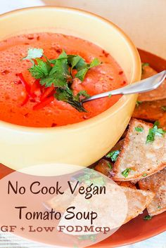 No Cook Vegan Tomato Soup {GF low FODMAP} - this six ingredient soup comes together in minutes in the blender and has a real depth of flavor from tahini and red bell peppers. The perfect simple lunch! Gluten Free Recipes For Lunch, Diet Dinner Recipes, Best Soup Recipes, Vegan Recipes, Delicious Recipes, Favorite Recipes, Vegan Tomato Soup, Vegan Soups, Fodmap Diet