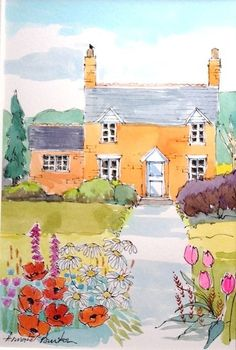 Signed Original Watercolour Painting -Poppy Cottage - by Annabel Burton