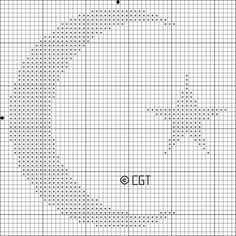 primitive moon cross stitch design | Pinned by Christina Willis