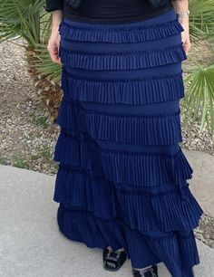 Navy Ruffle Eleganza Skirt #ruffleskirt  #modestfashion  #apostolic