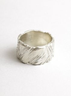 Wedding : Ragged band sterling silver 10mm - Macha nyc - unique custom jewelry; wedding and engagement rings, Brooklyn NYC
