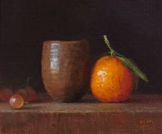 Japanese Vase with Tangerine and Grapes - Original Fine Art for Sale - © Abbey Ryan