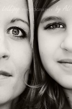 Mother daughter black and white photography