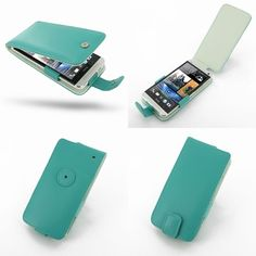 PDair Leather Case for The New HTC One 801e 801s - Flip Type (Aqua)