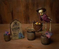 Miniature Scene Skeleton Apple Bobbing for your Dollhouse by DinkyWorld on Etsy