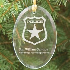 Engraved Police Officer Wooden Oval #Christmas Tree Ornaments. Personalized Police Officer Ornament - Engraved Police Officer Ornament Keepsake. Proudly display your current rank with our Personalized Police Officer Ornament. A handsome, personalized gift which presents a strong and knowledgeable display of the city you protect. A great personalized gift for a new police officer or your favorite police department. Your Personalized Glass Ornament measures