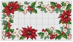 Perhaps Welcome or Merry Christmas or Noel written inside the surrounding poinsettias? Xmas Cross Stitch, Cross Stitch Cards, Cross Stitch Borders, Cross Stitch Flowers, Counted Cross Stitch Patterns, Cross Stitch Designs, Cross Stitching, Cross Stitch Embroidery, Christmas Border
