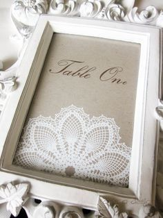 Table number lace photo frame vintage