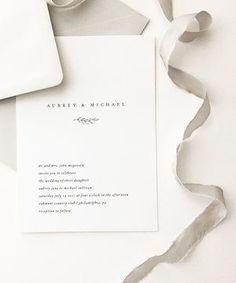 Aubrey Wedding Invitation August and White | Simple Wedding Invitations | Modern Wedding Invitations | Minimalist Wedding Invitations
