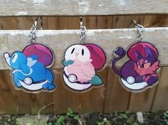 """New cutie starters are here! Litten Rowlet and Popplio as double sided clear acrylic keychains    SAVE WHEN YOU BUY ALL THREE <3    ★ 2.5""""  ★ double-sided  ★ clear acrylic  ★ Keychain"""