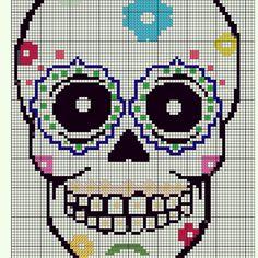 Sugar Skull Cross Stitch Pattern 3 by GwynsGifts on Etsy, Cross Stitch Quotes, Cross Stitch Heart, Modern Cross Stitch, Cross Stitch Designs, Cross Stitch Patterns, Crochet Skull Patterns, Loom Patterns, Cross Stitching, Cross Stitch Embroidery
