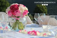 Fantasia Romantica by Francesca Peruzzini for Fernando & Paula ♥ Wedding in Florence, Italy from Brasile - Peony, roses, carnation and blackberry for lovely theme www.fantasiaromantica.com long table with vases petals and bouquet